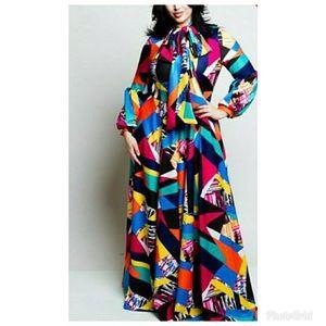 Colorful XL Vintage Style Maxi Dress